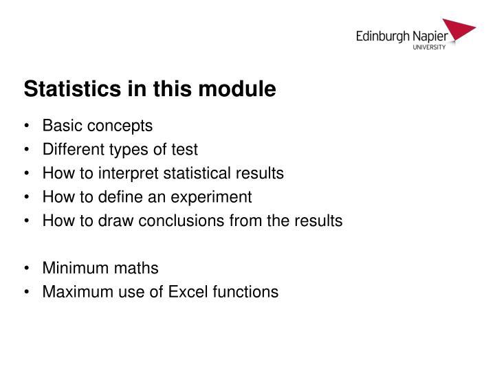 Statistics in this module