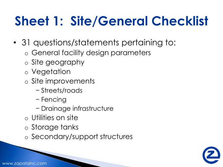 Sheet 1:  Site/General Checklist