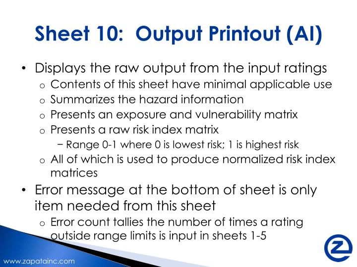 Sheet 10:  Output Printout (AI)