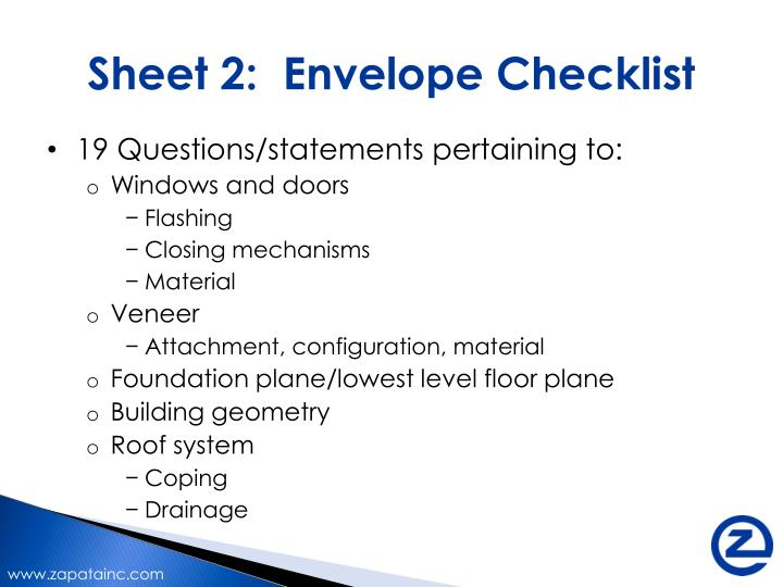 Sheet 2:  Envelope Checklist