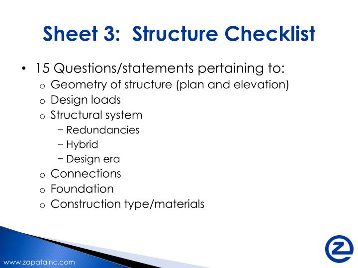 Sheet 3:  Structure Checklist