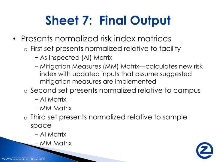 Sheet 7:  Final Output