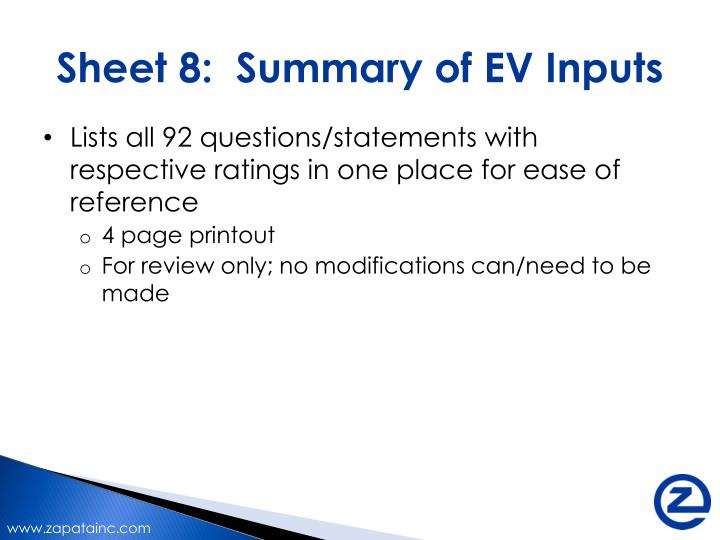 Sheet 8:  Summary of EV Inputs