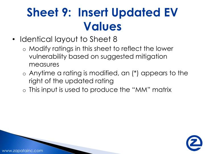 Sheet 9:  Insert Updated EV Values