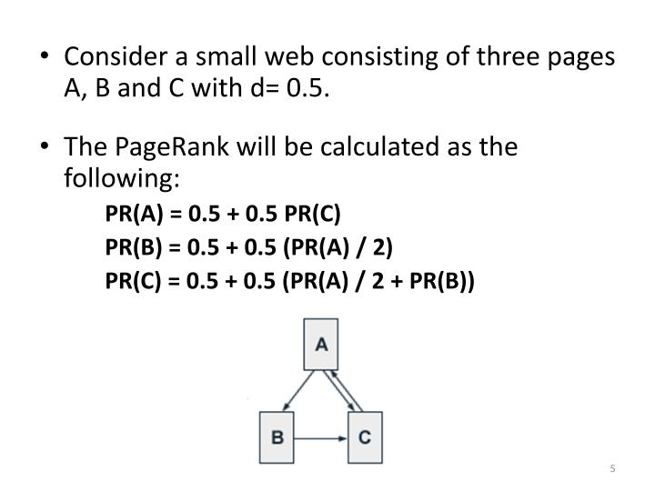 Consider a small web consisting of three pages A, B and C with d= 0.5.