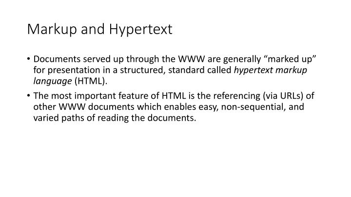 Markup and Hypertext