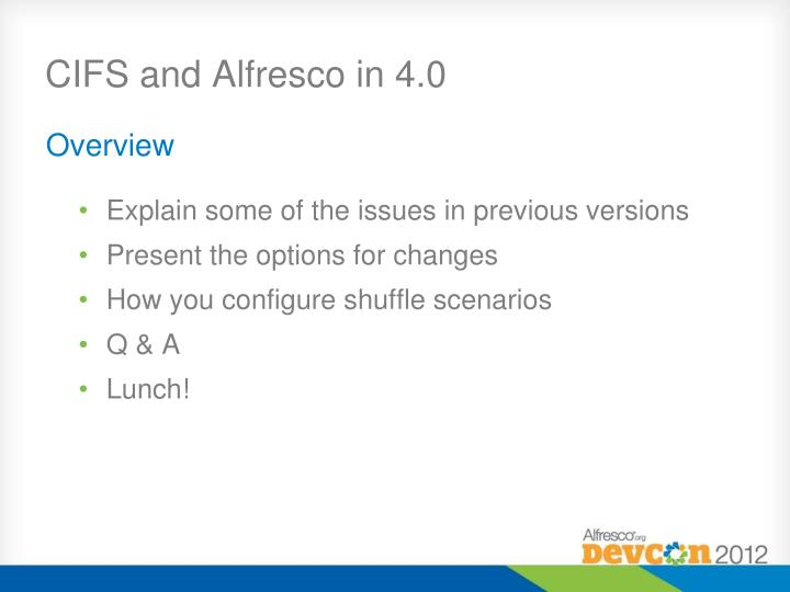 Cifs and alfresco in 4 0