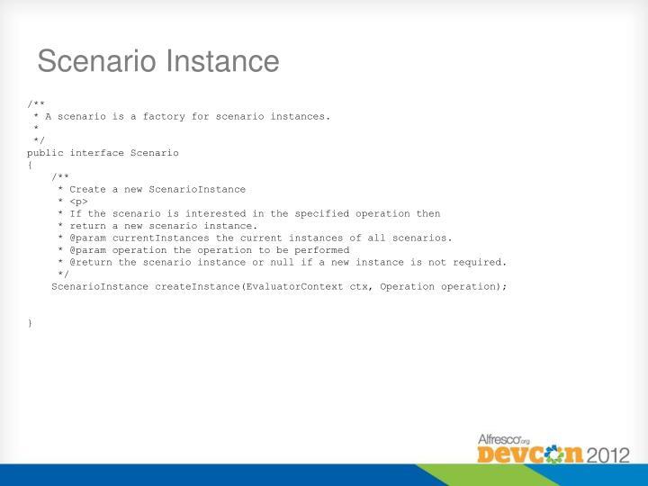Scenario Instance