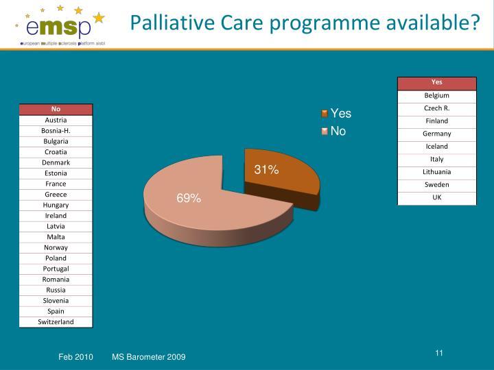 Palliative Care programme available?