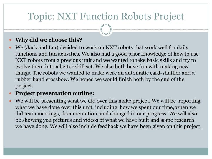 Topic: NXT Function Robots Project