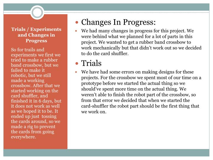 Changes In Progress: