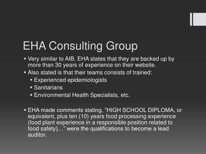 EHA Consulting Group