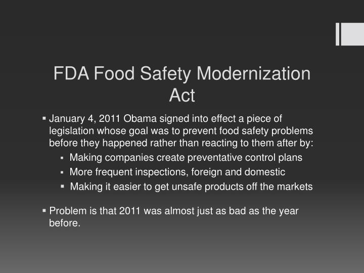 FDA Food Safety Modernization
