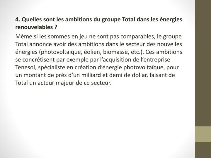 4. Quelles sont les ambitions du groupe Total dans les énergies renouvelables?