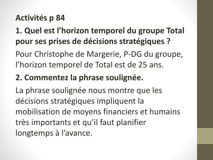 Activités p 84