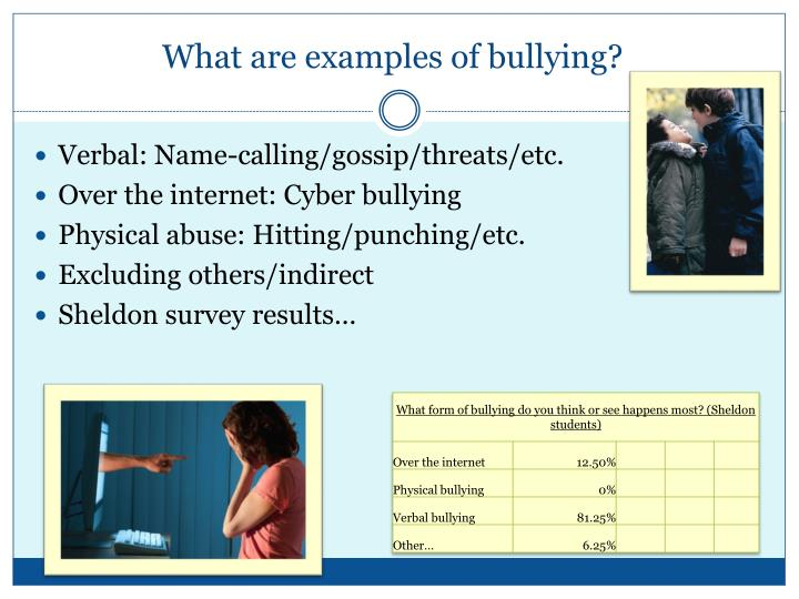 What are examples of bullying?