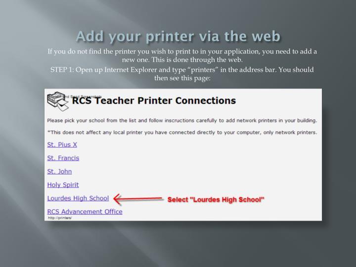 Add your printer via the web