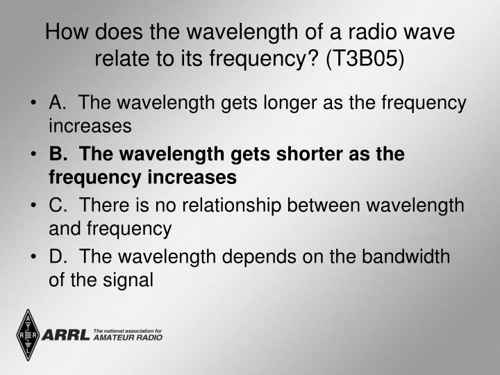 How does the wavelength of a radio wave relate to its frequency? (T3B05)