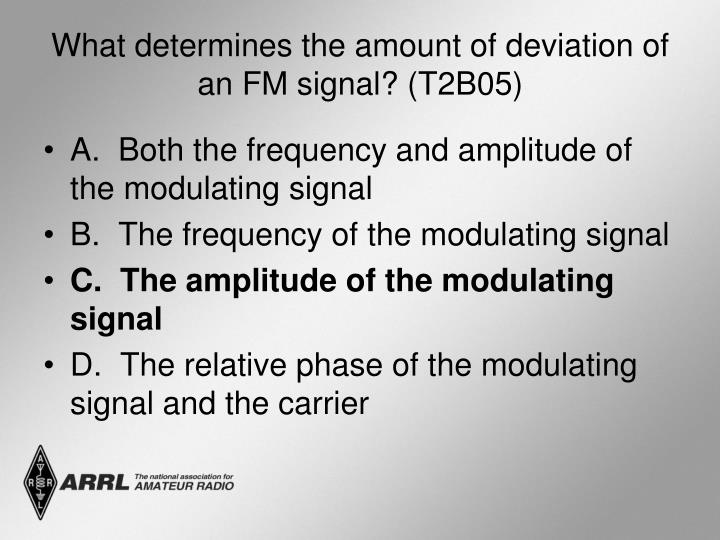 What determines the amount of deviation of an FM signal? (T2B05)