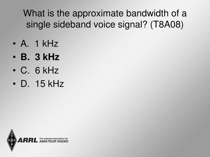 What is the approximate bandwidth of a single sideband voice signal? (T8A08)