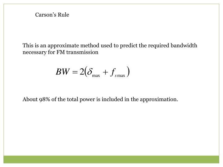 Carson's Rule