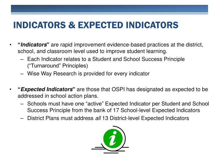 Indicators & Expected Indicators