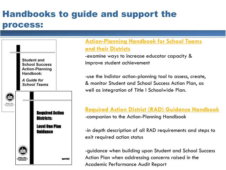 Handbooks to guide and support the process: