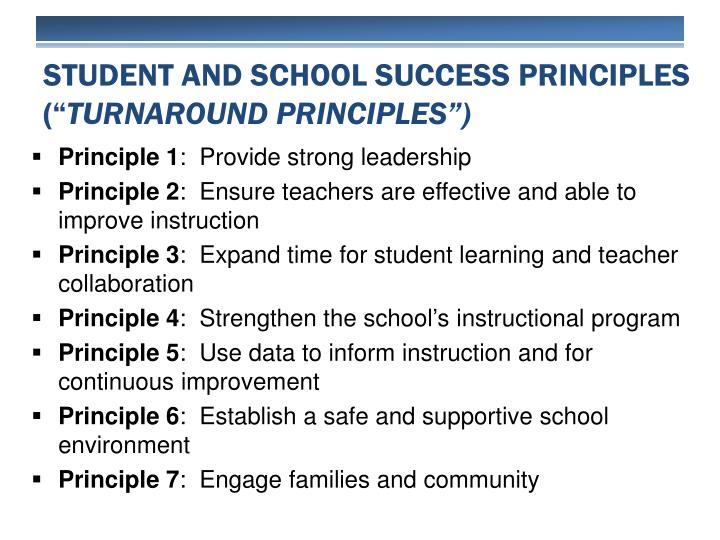 Student and School Success principles (""
