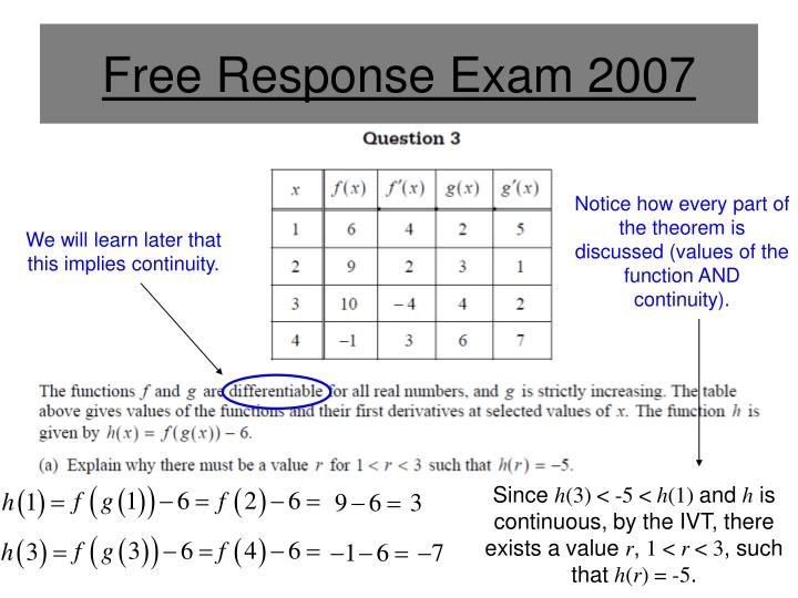 Free Response Exam 2007