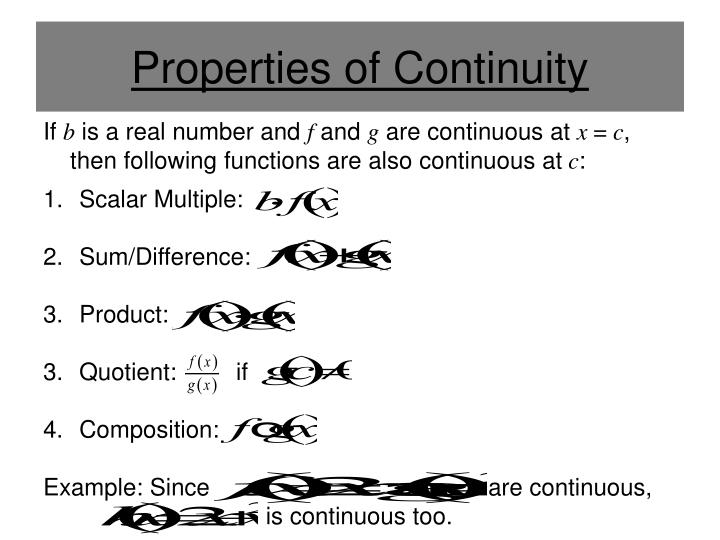 Properties of Continuity