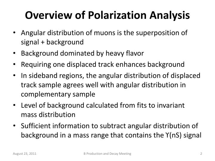 Overview of polarization analysis