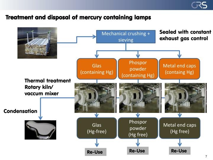 Treatment and disposal of mercury containing lamps