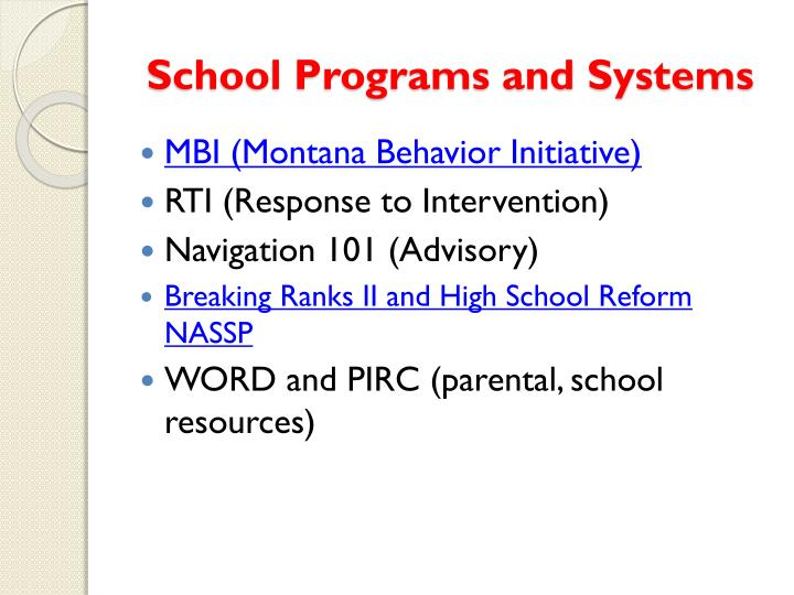 School Programs and Systems