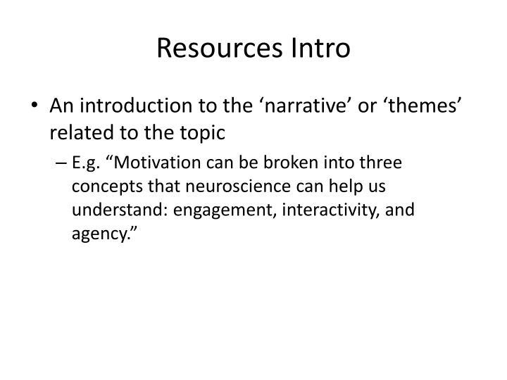 Resources Intro