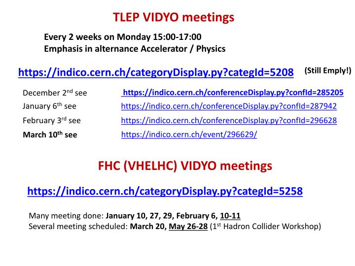 TLEP VIDYO meetings