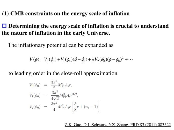 (1) CMB constraints on the energy scale of inflation