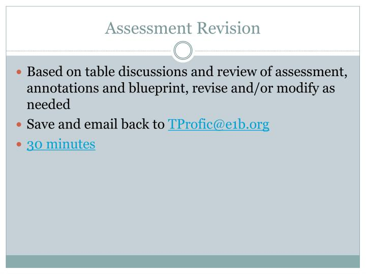 Assessment Revision