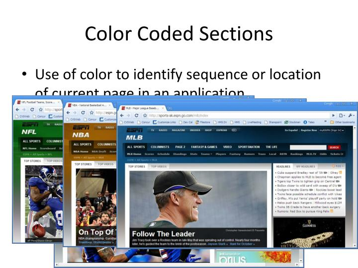 Color Coded Sections