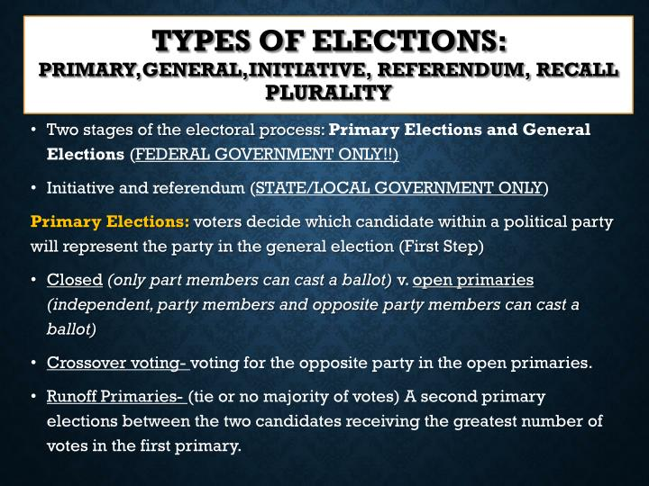 Types of elections primary general initiative referendum recall plurality