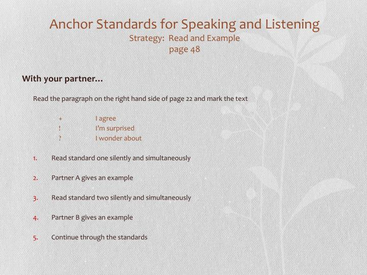 Anchor Standards for Speaking and Listening