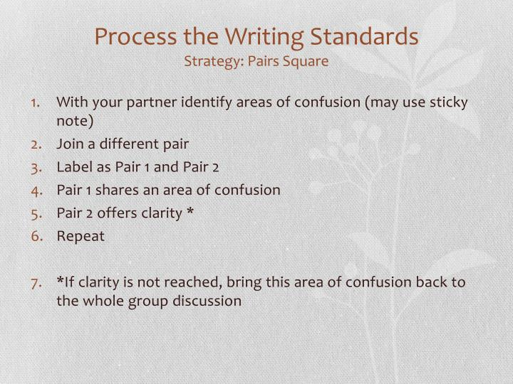 Process the Writing Standards