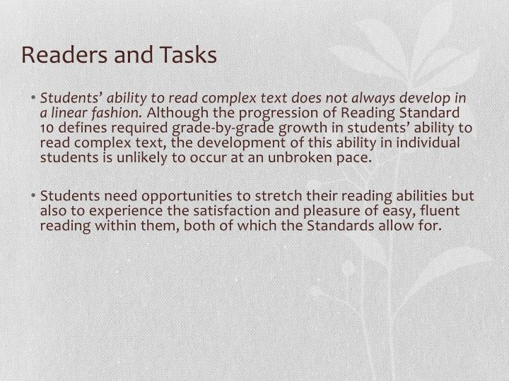 Readers and Tasks