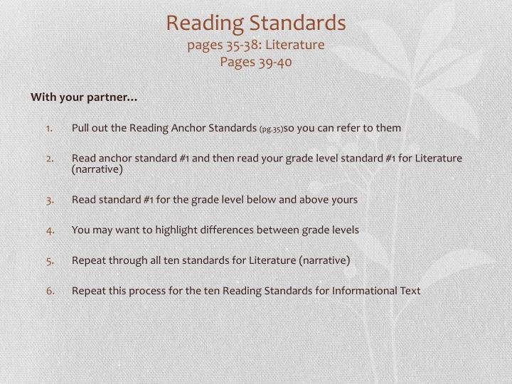 Reading Standards