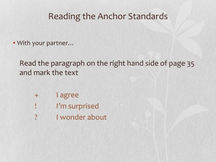 Reading the Anchor Standards