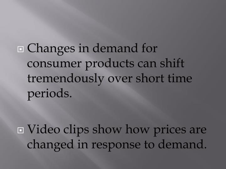 Changes in demand for consumer products can shift tremendously over short time periods.