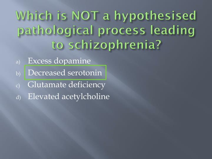 Which is NOT a hypothesised pathological process leading to schizophrenia?