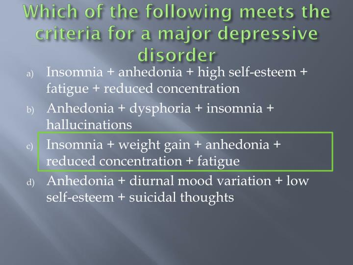 Which of the following meets the criteria for a major depressive disorder