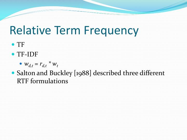 Relative Term Frequency