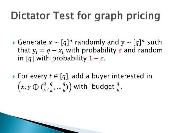Dictator Test for graph pricing