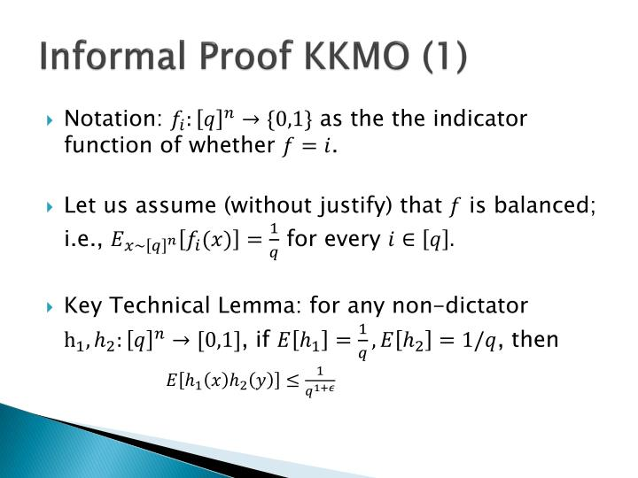 Informal Proof KKMO (1)